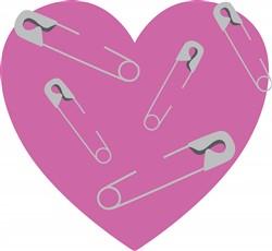 Safety Pins Heart Print Art