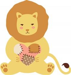 Patchwork Heart Lion Print Art