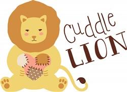 Cuddle Lion Print Art