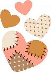 Patchwork Hearts Print Art