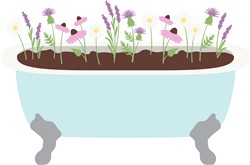 Flower Bath Tub Print Art