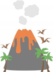 Prehistoric Volcano Print Art