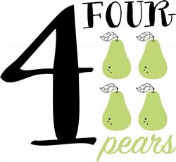 Four Pears Print Art