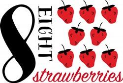 Eight Strawberries Print Art