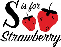 S For Strawberry Print Art