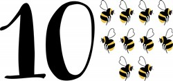 10 Bees Print Art