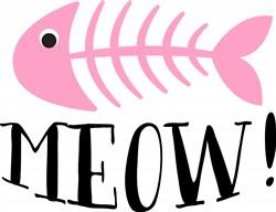 Fish Bones Meow Print Art
