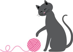 Cat With Yarn Print Art