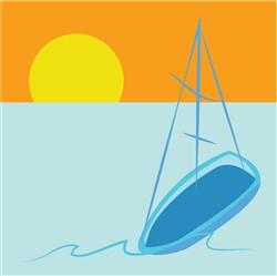 Sailboat Scene Print Art