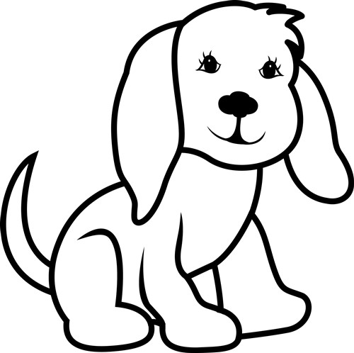 Printable Line Drawings Of Animals : Dog outline vector illustration annthegran