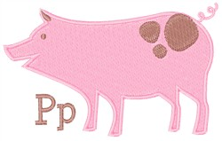Pig P embroidery design