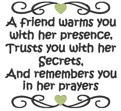 True Friendship embroidery design