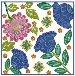 Floral Square embroidery design