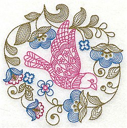 Jacobean Florals embroidery design