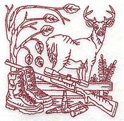 Redwork Buck & Rifle embroidery design