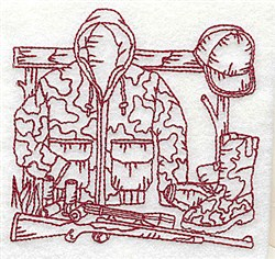 Redwork Hunters Gear embroidery design