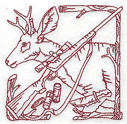 Redwork Deer & Rifle embroidery design