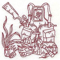 Redwork Gear & Rifle embroidery design