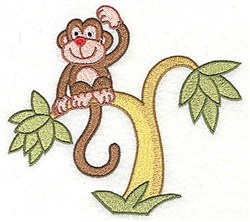 Monkey In Tree embroidery design