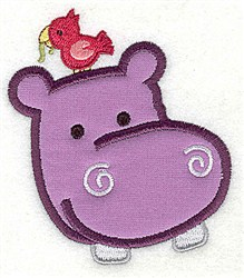 Hippo Head Applique embroidery design