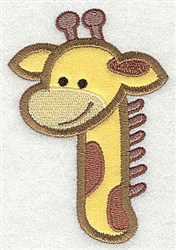 Giraffe Head Applique embroidery design