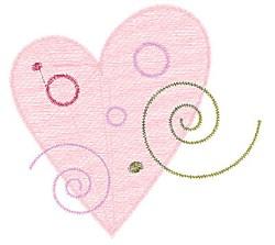 Heart & Swirls embroidery design