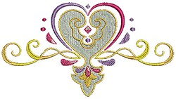 Swirly Heart embroidery design