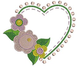 Floral Heart Outline embroidery design