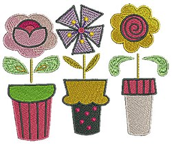 Flower Pots embroidery design