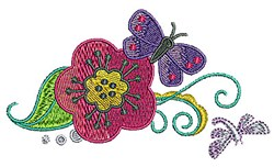 Butterfly Floral Vine embroidery design