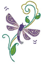 Dragonfly Vine embroidery design