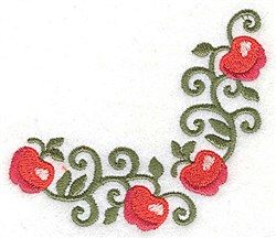 Apple corner embroidery design