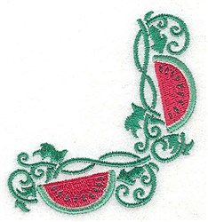 Watermelon corner embroidery design