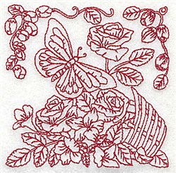 Butterfly & Flowers embroidery design