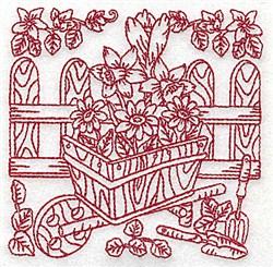 Wheelbarrow & Flowers embroidery design