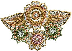 Floral Henna embroidery design