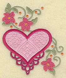 Fancy Heart Applique embroidery design