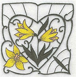 Yellow Lily Block embroidery design