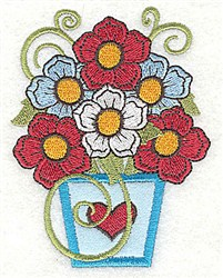 Flower Vase Applique embroidery design