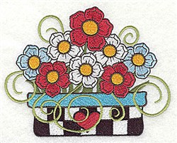 Floral Planter embroidery design