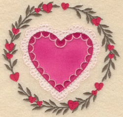 Heart In Circle Applique embroidery design
