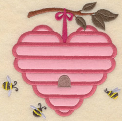 Heart Beehive Applique embroidery design