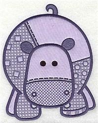 Hippo Applique embroidery design