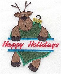 Reindeer Split Applique embroidery design