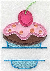 Cherry Cupcake Frame embroidery design