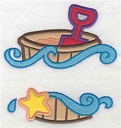 Beach Pail & Shovel Applique embroidery design
