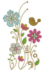 Flowers & Bird embroidery design