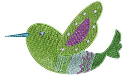 Green Bird embroidery design