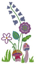 Floral Garden & Mushrooms embroidery design