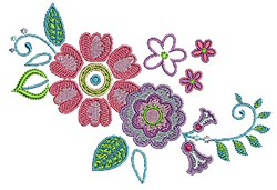 Swirly Flowers embroidery design